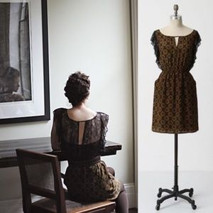 ANTHROPOLOGIE Recollections Lace Silk Dress